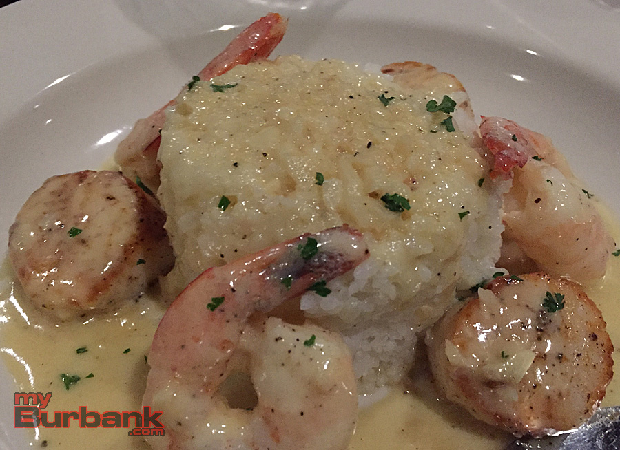 Shrimp and Scallops with Jasmine Rice, The Restaurant at 29 Palms Inn. (Photo By Lisa Paredes)