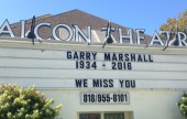Marquee at the Falcon Theatre that was owned and built by Garry Marshall at Ross and Riverside in Burbank