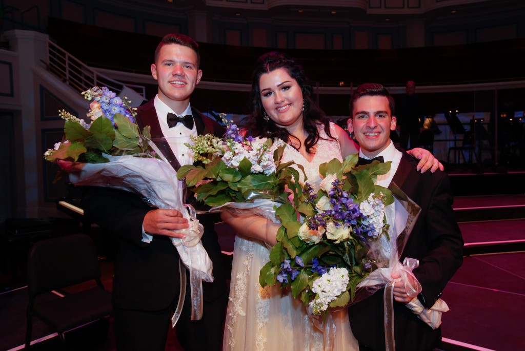 Songbook Inspiration Award winner Sam Mulligan of Mount Zion, IL; Songbook Youth Ambassador Brighton Thomas of Burbank, CA; and Songbook Celebration Award winner Matt Hoffman of Stony Brook, NY. (Photo Courtesy Great American Songbook Foundation)