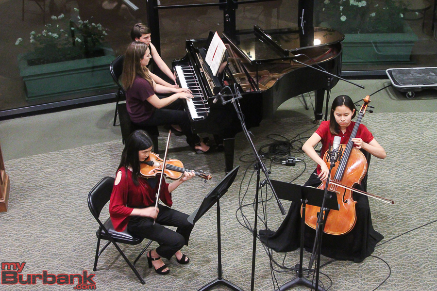 "Violinist Jessica Park, pianist Maya Paredes and cellist Claire Park - Trio Épicé from The Colburn School - perform Ravel's ""Trio in a minor."" (Photo by © Ross A Benson)"