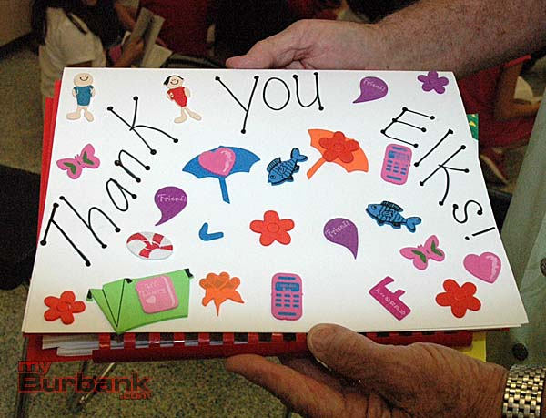 A detail shot of a thank-you note given to the Burbank Elks Lodge for the dictionary donation. (Photos by Joyce Rudolph)