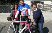 """L to R - Elaine Pease, Chairman of the """"Bike Angels """" Doug Remington , Major Bike Donor, and Elaine Paonessa, """"Angel Tree"""" Coordinator (Picture courtesy of Elaine Paonessa)"""
