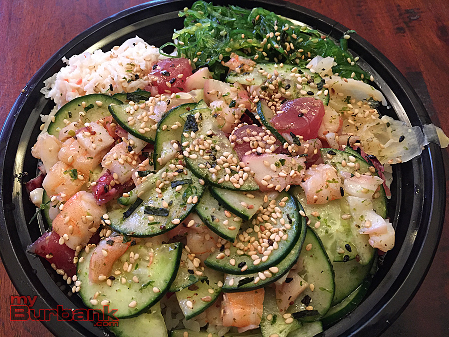 Medium bowl with veggies, rice and fresh fish at All About Poke in Burbank. (Photo By Lisa Paredes)