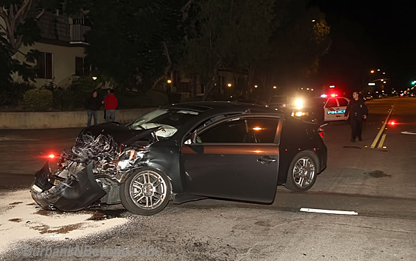 One of the cars involved in the early morning accident. The accident occurred at the Victory and Parish around 2 am Saturday, November 5, 2011. The driver was taken to the hopsiptal for injuries while the driver was booked for DUI. (Photo By Ross A. Benson)
