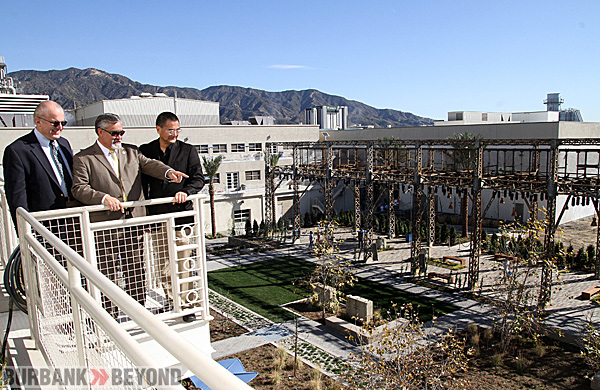 BWP General Manager Ron Davis, Councilman Jess Talamantes and President of AHBE Landscape Architects Calvin Abe look over the new eco friendly Centennial Courtyard.  (Photo by Ross A. Benson)