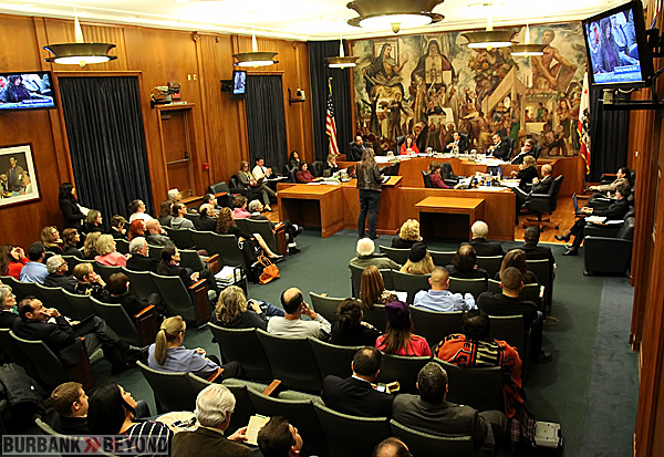 Burbank City Council Chambers packed with speakers. (Photo by Ross A. Benson)