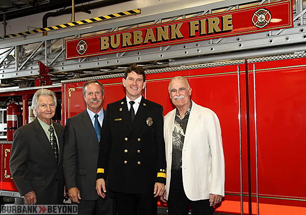 Former Chiefs of The Burbank Fire Department, join new Chief Tom Lenahan pictured L/R Curtis Reynold, Ray Krakowski and Mike W. Davis. (Photo by Ross A. Benson)