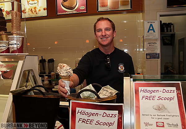 Burbank Firefighter Mike Templeton, hands off this Haagan Dazs in support of MDA. (Photo by Ross A. Benson)