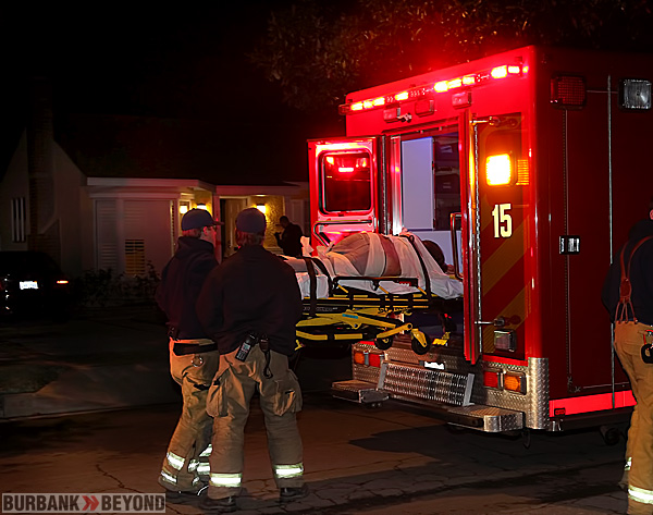 Burbank Fire Paramedics prepare to transport stabbing victim to Holy Cross Trauma Center, from the 200 Blk of North Griffith Park Drive. (Photo by Ross A. Benson)
