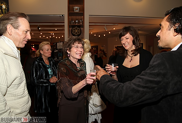Toasting Opening Night success are L/R Peter Colley Playwright/Director Colony Artist Director Barbara Buckley, Costume Designer Diane Graebner and Joseph Melendez. (Photo by Ross A. Benson)