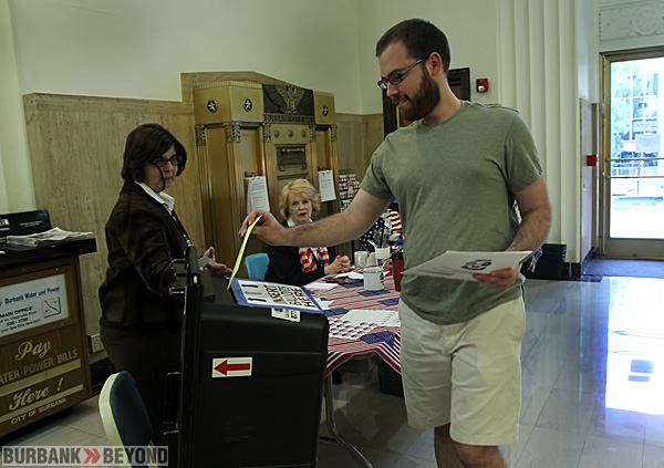 Election Polls accepted ballots all day till the 7:00 PM cutoff. Burbank resident Matt Benson deposits his completed ballot at City Hall. (Photo by Ross A. Benson)
