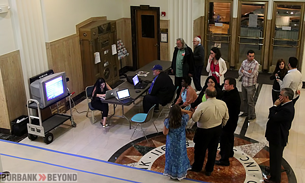 Waiting for results in the City Hall Rotunda are candidates, media, and other residents . (Photo by Ross A. Benson)