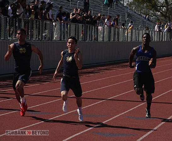 Burbank's James Williams (rt) competed in the 100 meter dash (Photo by Dick Dornan)