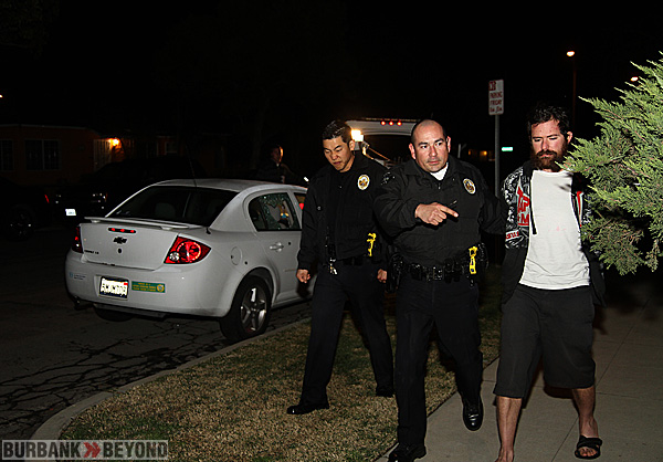 Burbank Police take Steven Rosenberg of Burbank into custody following investigation into shooting. (Photo by Ross A. Benson)