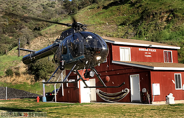 Burbank's Air-1 landed at the Police Range to give the class a up close and personal look at it's tools of the trade, such as the FLIR- Forward Looking  Infrared Recorder, and 100,000,000 candle power spot light. (Photo by Ross A. Benson)
