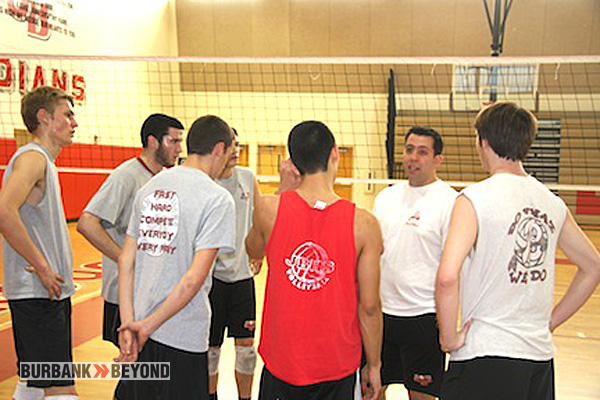 Coach Joel Brinton speaks with his team during a recent practice (Photo by Dick Dornan)