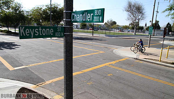 The intersection of Keystone & Chandler, has many problems with bike riders & skateboarders, and even runners failing to stop as posted. (Photo by Ross A. Benson)