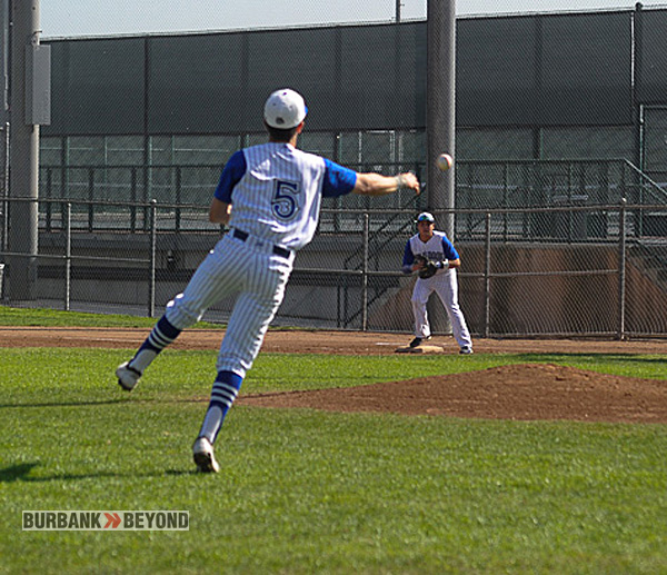 John White makes the play on a slow roller to third (Photo Courtesy burbankhighbaseball.com)