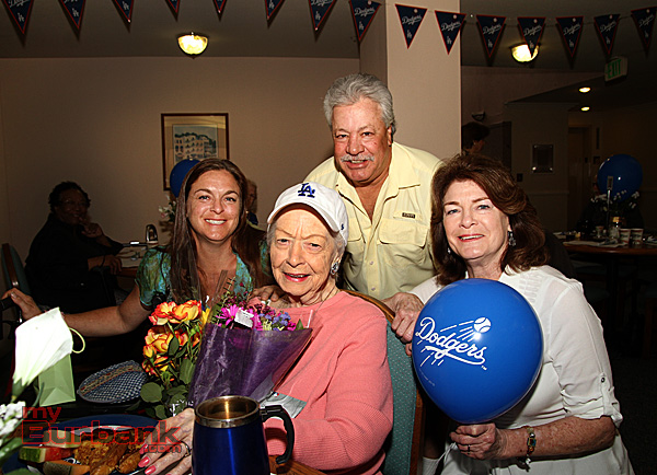 Burbank resident Lucille Bible in pink celebrates her 100 year old birthday, with family members Chuck,Patty and Dena. (Photo by Ross A. Benson)