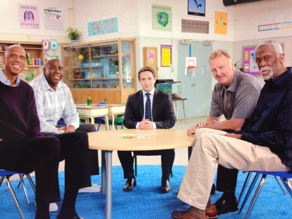 Magic Johnson, Larry Bird, Kareem Abdul-Jabbar, and Bill Russell were all recently at Muir Middle School shooting their commercials (Photo courtesy or Muir Middle School Staff)