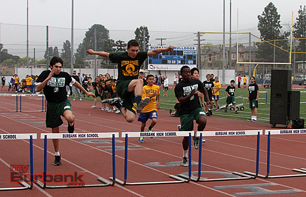 Preston Hernandez of Luther Burbank wins the 70m hurdles (Photo by Ross A. Benson)