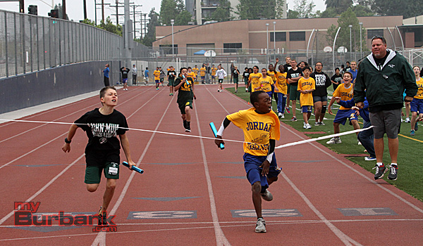 Jordan's 4 x 100 sixth grade relay team claimed first place (Photo by Ross A. Benson)