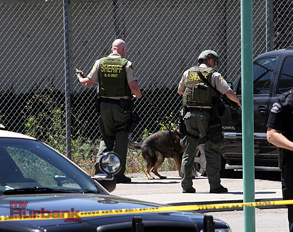 Sheriff's K-9 Units checked cars in the parking lot of the Burbank Train Station. (Photo by Ross A. Benson)