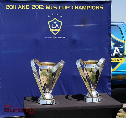 The 2011 and 2012 Major League soccer championship trophies won by the LA Galaxy (Photo by Ross A. Benson)