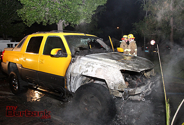 Quick work by Burbank Firefighters  extinguished this truck fire before it spread to the garage early Monday morning. (Photo by Ross A. Benson)