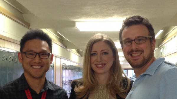 Chelsea Clinton was at Muir Middle School last week for NBC news. Here she is with teachers (left) Robert Lee, and Ted DeVirgilis  (Photo Courtesy of Emily Thomas)