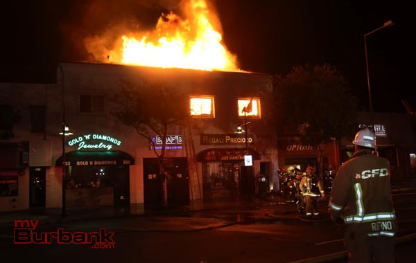 Burbank Fire assisted Glendale fire at this 3rd alarm commercial structure at 233 N Brand Blvd around midnight Sunday. (Photo by Ross A. Benson)