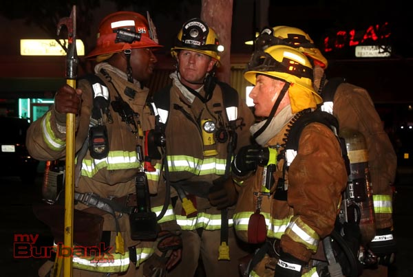 These Burbank Firefighters with Capt. Tray White were called into assist Glendale Fire on this 3rd alarm blaze at 233 Brand Blvd. (Photo by Ross A. Benson)