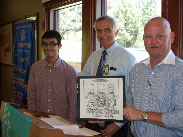Burbank High first place winner David Faizi with Court Warner and Mike Thomas of Burbank Noon Rotary