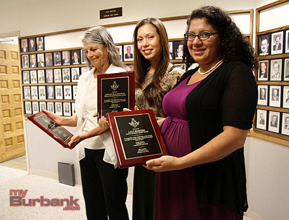 Those recognized were  Jean Spero, Monteray High School.Tiffany Kaloustian, Theodore Roosevelt Elementary School,  Luci Bowers, Luther Burbank Middle School. (Photo by Ross A. Benson)