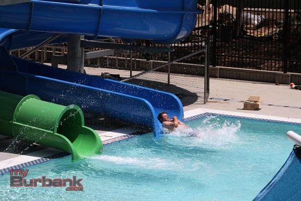 Richard Nigra tests out one of the new slides at The Verdugo Park Aquatic Center. (Photo by Ross A. Benson)
