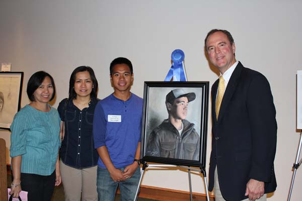 First Place Winner Joshua Dominic Macapagal and Family with Congressman Adam Schiff