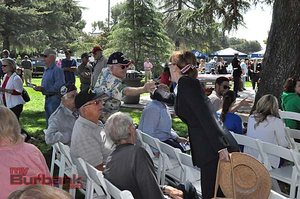 Mayor Emily Gabel-Luddy went seat to seat to thank all of the Veterans in attendance at McCambridge Park  (Photo By Deborah Dodge)