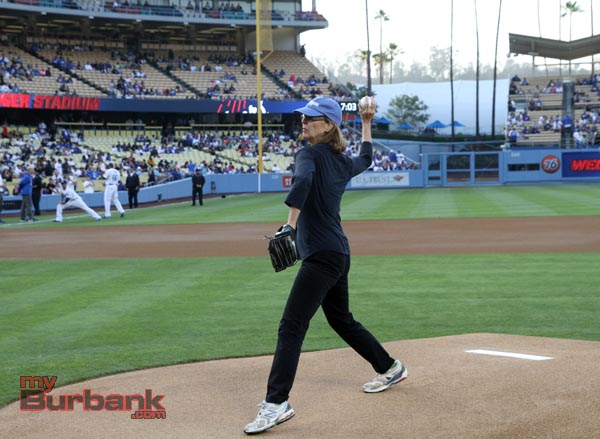 Mayor Emily Gabal Luddy makes the pitch. (Photo by Ross A. Benson)