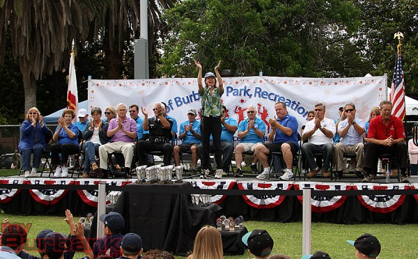 Burbank Mayor Emily Gabel-Luddy addresses the crowd (Photo by Ross A. Benson)
