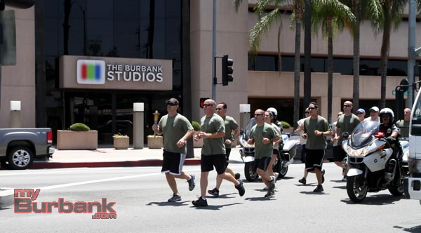 Burbank Police run past the new Burbank Studios at Olive & Alameda Avenue. (Photo by Ross A. Benson)