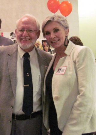 "Classmates, Stan Lynch and Beverly Adams Sassoon, talked about the ""good old days"" at Jordan and Burroughs at the Class of 1963 Reunion.  (Photo by Harrie Niers)"