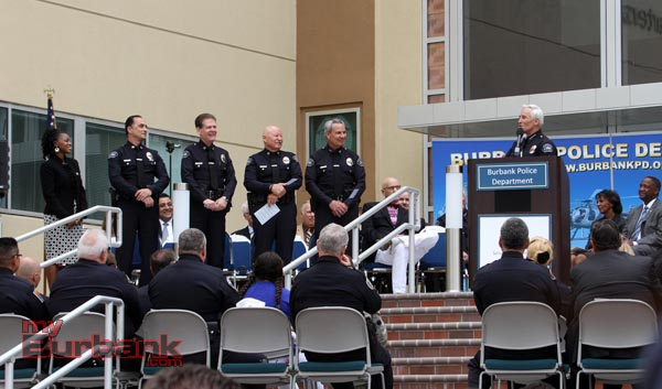 The Burbank Police Command Staff is introduced by Chief Scott LaChasse. (Photo b y Ross A. Benson)