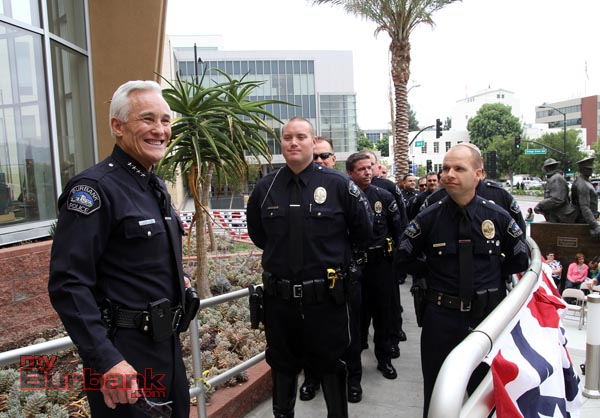 Chief Scott LaChasse smiles as he looks over the men & woman of The Burbank Police Department. (Photo by Ross A. Benson)