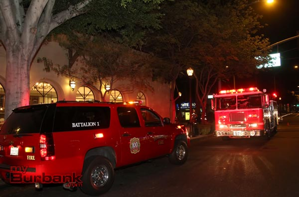Burbank Fire Fighters including a Battalion Chief and several other pieces of equipment, responded to Porto's for a deep fryer caught fire Sunday night after closing. (Photo by Ross A. Benson)