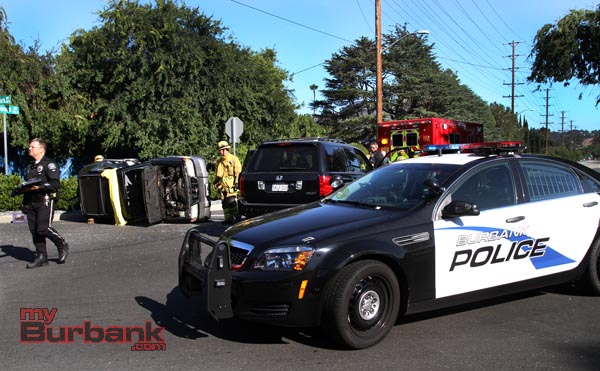 Burbank Police are investigating this minor injury accident at Clybourn & Clark Street  Thursday afternoon. (Photo by Ross A. Benson)