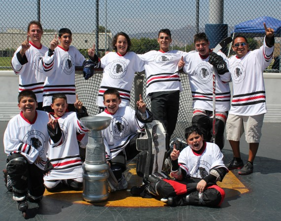 The U14 Burbank Blackhawks won their own tournament (Photo courtesy of Frank Dalessandro)