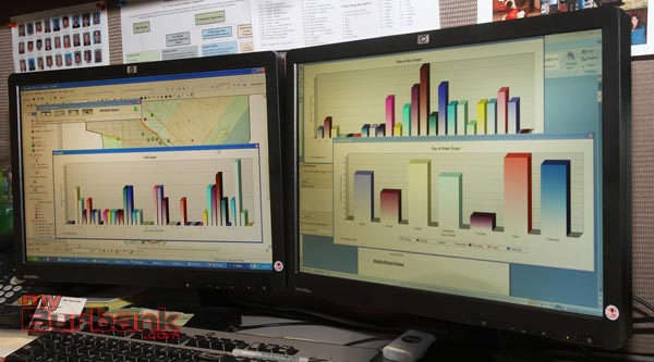 Prepared data, graphs, information, is some of the tools Jessica Statland Crime Analyst uses and is supplied to the Burbank Police Officers to help reduce crime in Burbank  (Photo by Ross A. Benson)