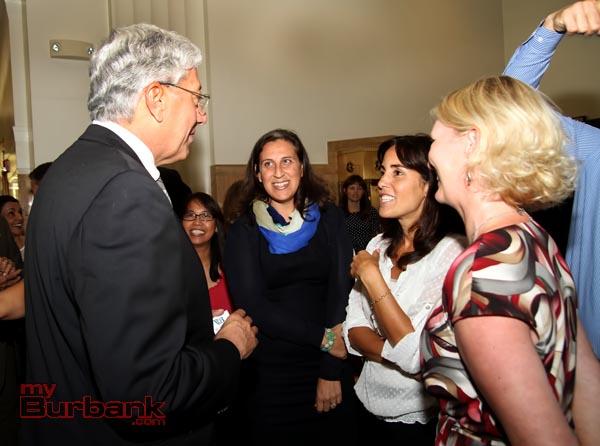 City Manager Mark Scott meets Jennifer Kaplan Becker and Financial Services Diector Cindy Giraldo. (Photo by Ross A. Benson)