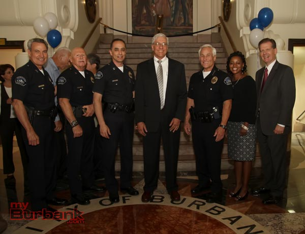New City Manager with the Command Staff of The Burbank Police Department. (Photo by Ross A. Benson)