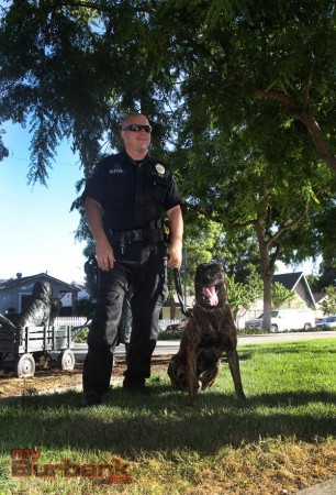 Burbank Police Officer John Embleton and partner Steevo. (Photo by Ross A.Benson)